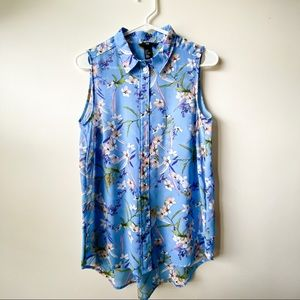H&M Blue Floral Sleeveless Tunic Shirt, Sz 6 Small